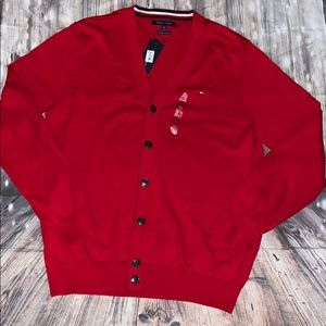 Tommy Hilfiger Sweaters - Tommy Hilfiger men's fall button sweater in red